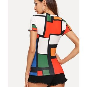 boutique Tops - New with tags colorful chic unique geometric top